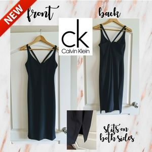 NEW Calvin Klein Strappy Midi Fitted Dress!